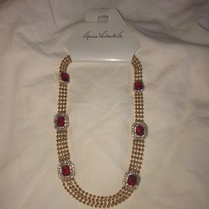 Gloria Vanderbilt gold color necklace w/ red gems